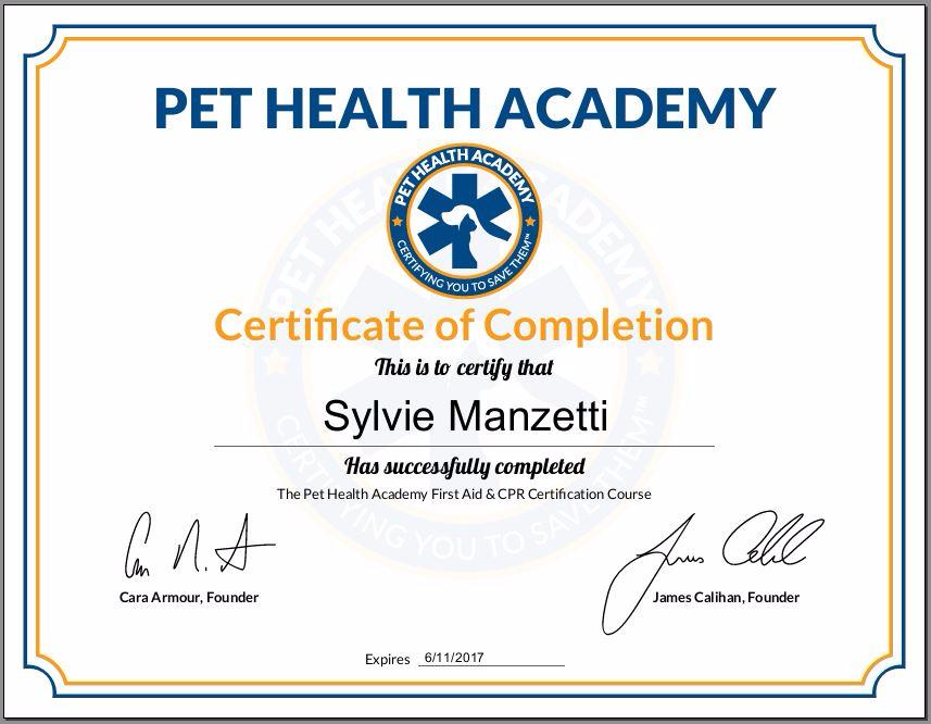 Pet Angels Santa Barbara - First Aid & CPR Certificate
